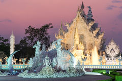 White temple is unique beautiful Thai art in Chiangrai Royalty Free Stock Image