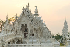 White temple is unique beautiful Thai art in Chiangrai Royalty Free Stock Photos