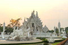 White temple is unique beautiful Thai art in Chiangrai Royalty Free Stock Images