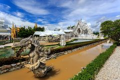 White Temple - Wat Rong Khun in Chiang Rai at sunn. Wat Rong Khun is the most important temple of Chiang Rai, Thailand Stock Photos