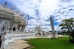 White Temple - Wat Rong Khun in Chiang Rai at sunny day Royalty Free Stock Photo