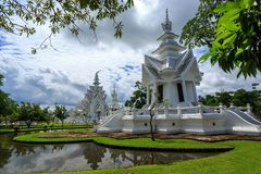 White Temple - Wat Rong Khun in Chiang Rai at sunny day Royalty Free Stock Images