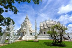 White Temple - Wat Rong Khun in Chiang Rai at sunny day Royalty Free Stock Photography