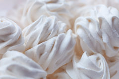 White tender marshmallow close-up. Delicious sweet buffet with white marshmallow high-key shot Royalty Free Stock Images