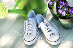 White tennis running shoes Stock Images