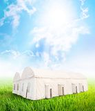 White tent with air conditioning Royalty Free Stock Photos