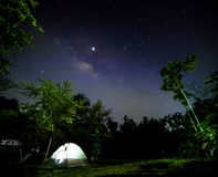 White tent with star and milky way on the sky royalty free stock image