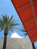 White tent tropical scene. White tent outdoor shopping mall Stock Photos