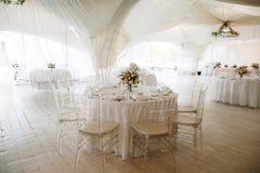 White tent for wedding ceremony stock photo
