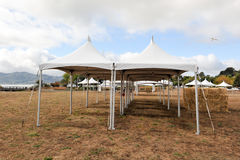 White tents in a dry field outdoors Stock Images