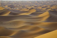 White tents in sandy desert stock images
