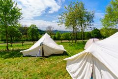 White tents in a scout camp. At summer Stock Photography