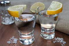 White tequila. With salt and lemon Stock Image