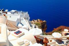 White terrace resorts and sea, Oia , Santorini island, Greece. Royalty Free Stock Image