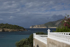 White terrace with a view to Dragonera, Sant Elm, Majorca. Stock Images
