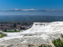 White terraces from Travertin, marble and gypsum in Pamukkale, T Royalty Free Stock Photo