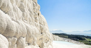 White terraces from Travertin, marble and gypsum in Pamukkale, T Stock Image