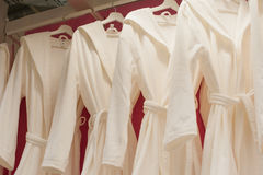 White terry robes in the closet Stock Images