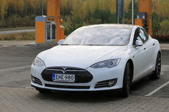 White Tesla Model S Electric Car Royalty Free Stock Photo