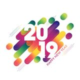 White text 2019 on abstract background for Happy New Year celebr. Ation greeting card design vector illustration