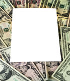 White Text Area on a Background of US Currency Royalty Free Stock Photos