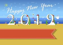 Happy New Year 2019. White Houses. White text Happy New Year with plane in the sky. Number 2019 is as a white hauses on the summer beach. Artistic font with red vector illustration