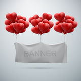 White textile banner with heart balloons Stock Images