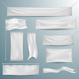 White textile banners and flags Stock Images
