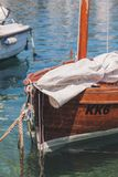 White Textile on Brown Boat royalty free stock photography
