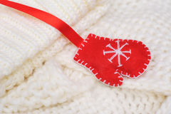 White texture knitted scarf and hat with a red mitten Royalty Free Stock Photos