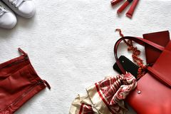 Red and white spring fashion concept with copy space stock image