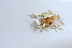 White Textured Flower Embellishments. Pretty white textured flower craft embellishments Royalty Free Stock Image