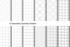 White Textured Geometric Seamless Pattern. 12 Geometric Seamless Pattern. White Texture. vector illustration Stock Photo