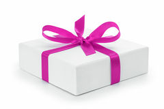 White textured gift box with purple ribbon bow Stock Photos