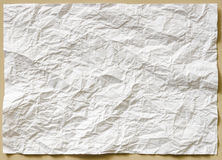 White textured sheet of paper crumpled Stock Images