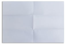 White textured sheet of paper folded in six isolated Royalty Free Stock Photography
