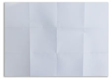 White textured sheet of paper folded in sixteen isolated. On white stock photo