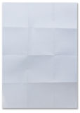 White textured sheet of paper folded in sixteen Royalty Free Stock Photography