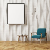 White textured wall living room, blue armchair Stock Photography
