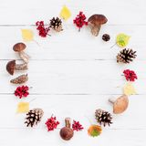 White textured wooden background with autumn wreath stock images