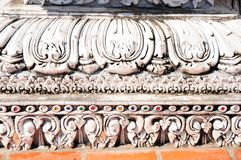 White thai art stucco wall Royalty Free Stock Photo