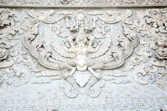 White thai art stucco wall Stock Photography