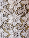 White thai art stucco wall in Thai temple Royalty Free Stock Image