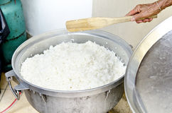 White thai Rice unpolished  in rice pot prepare for Stock Image