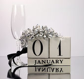White theme Save the date with a Happy New Year, January 1 Stock Image