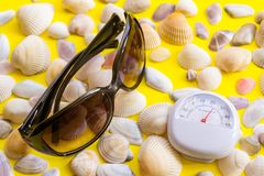 White thermometer with a temperature of +26 degrees Celsius, sunglasses and a lot of different seashells on a yellow background. White thermometer with a royalty free stock photography