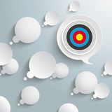 White Thought And Speech Bubbles Target. White thought and speech bubbles with a target on the grey background Vector Illustration
