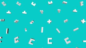 White three-dimensional figures from cubes slowly fly on a turquoise. 3d render. White three-dimensional figures from cubes slowly fly on a turquoise background stock video