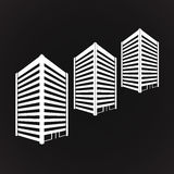 White three towering building on black Vector. Vector White three towering building on black Royalty Free Stock Photo