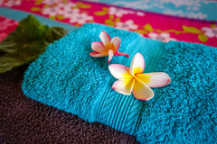 White tiare flowers on a towel Royalty Free Stock Photography